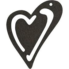 Figur Skevt Hjärta 55x45 mm Svart 10 st