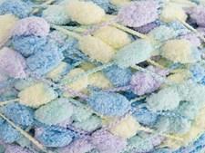 Rico Creative Pompon Print Garn Polyester 200g Blue Multi 026