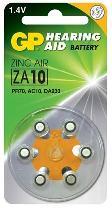 Høreapparatsbatteri ZA10 zink luft 1,4V 6-pakk