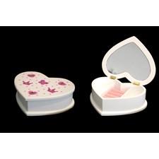 Smyckeskrin Hjärtformad 20 x 16 x 6 cm, Vit & Rosa