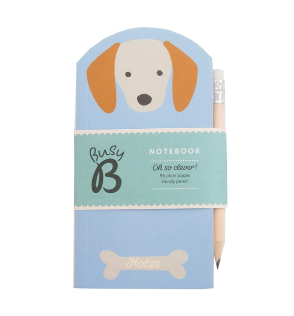 Liten anteckningsbok med penna, 7 x 13,5 cm, Dog