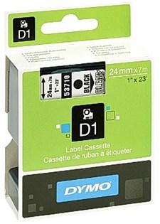 Tejp D1 24 mm Svart Text på Klar Text
