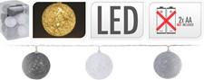 Ljusslinga, trådbollar, 10 lampor, grå/vit