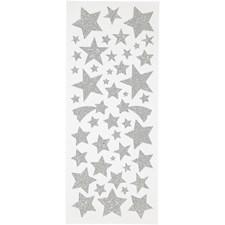 Glitterstickers, ark 10x24 cm, ca. 110 stk., sølv, stjerner, 2ark