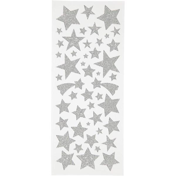 Glitterstickers Stjärnor, 10x24 cm, 2 ark, silver