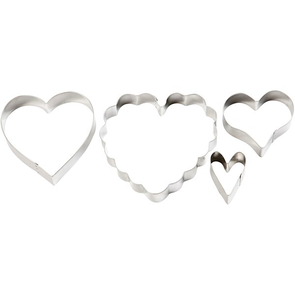 Pepparkaksformar Hjärta set om 4 stycken med största mått 13x12 5 cm