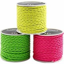 Flettesnor - sortiment, tykkelse 3 mm, 3x6 m, neonfarver