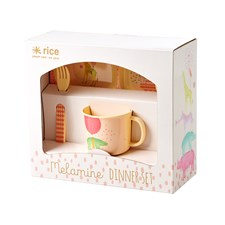 Rice Animal Print Baby Middagsset 4-delar Rosa