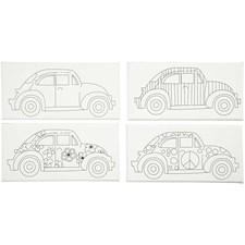 Malelerret med print, str. 10x20 cm, dybde 1,4 cm, biler, 4stk.