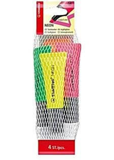 Överstrykningspenna Neonfärger 4 st