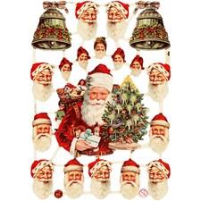 Glansbilder, ark 16,5x23,5 cm, julenisser og bjeller, 3ark