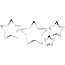 Pepparkaksformar Stjärna set om 4 stycken med största mått 13x13 cm
