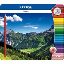 Osiris Färgpennor i Metallask 28 mm 24 Färger Lyra