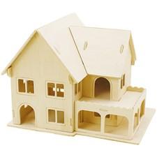 3D Pussel, Hus med veranda, stl. 22,5x16x17,5 , plywood, 1st.