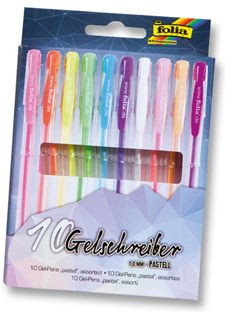 Svartfargede gel-penner, 10 diverse farger, Pastell