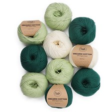 Adlibris Organic cotton garn 50g Green and white 10-pack