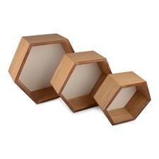 Hylle, Hexagon, Sett, 3 stk.