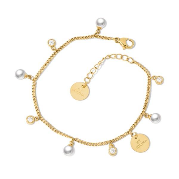 Liz Charm Bracelet, Pearl Gold