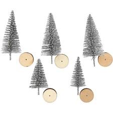 Grantrær, H: 40+60 mm, sølv, 5stk.