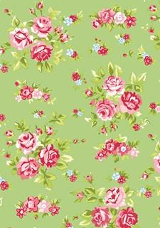 Bomullstyg Blommor 50x160 cm Grön/Rosa