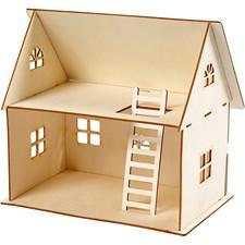 Sätt-ihop-själv dockhus, H: 25 cm, stl. 18x27 cm, plywood, 1st., tjocklek 4 mm