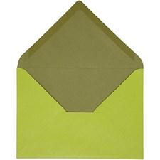 Kuvert, stl. 11,5x16 cm, 100 g, 10 st., mörkgrön/lime