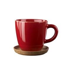Rörstrand Höganäs Keramik Kaffemugg med Träfat 33 cl Äppelröd