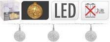 Ljusslinga, trådbollar, 10 lampor, vit
