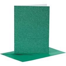 Korttipohjat ja kirjekuoret, kortin koko 10,5x15 cm, kirjekuoren koko 11,5x16,5 cm, 4 settiä, vihreä