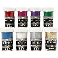 Glitter, ass. farger, 8x20g