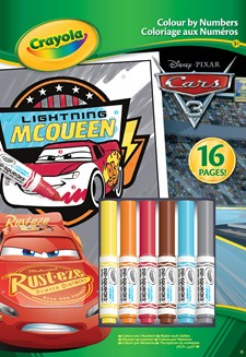 Malebok Colour By Number fra Crayola Cars 3