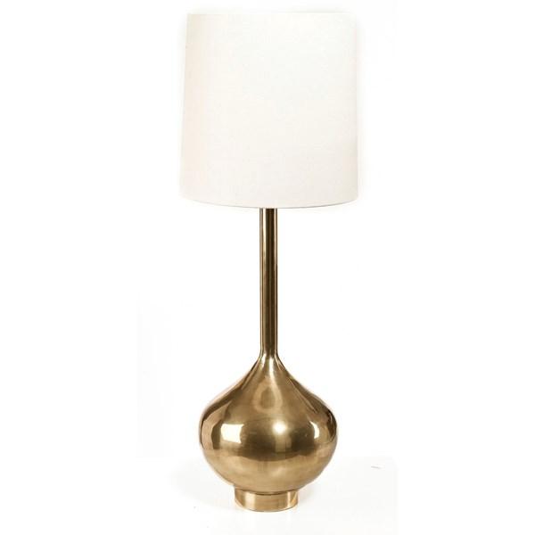Day Home Cue Lampa ink Lampskärm i Linne Höjd 90 cm Lampskärm Diameter 28 cm Mässing Vit