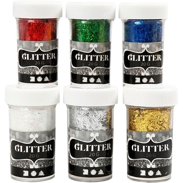 Glitter Fiber Mix Metallic 6x20 g (metallicfärger) - julpyssel