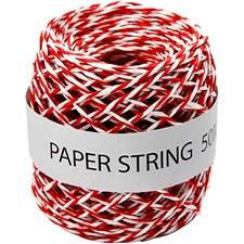 Papirsnor, 50 m, rød/hvit