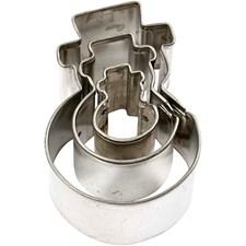 Metallimuotit, suurin koko 30x40 mm, Lumiukot, 3kpl