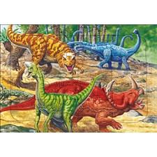 Rammepuslespill, Dinosaurer, 16 brikker