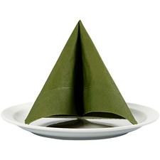 Servietter, mørk grønn, str. 33x33 cm, 20stk.