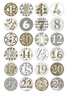 Adventskalender Knapper, gull og sølv