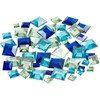 Rhinestones, stl. 6+9+12 mm, blå harmoni, Fyrkantiga, 360mix.