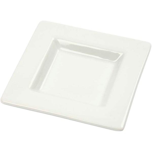 Minifat, str. 9,5x9,5 cm, 12 stk., hvit