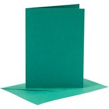 Korttipohjat ja kirjekuoret, kortin koko 10,5x15 cm, kirjekuoren koko 11,5x16,5 cm, 6 settiä, tummanvihreä