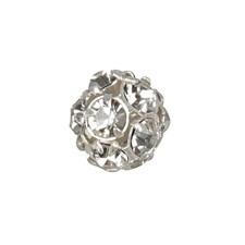 Perle med rhinsten, dia. 10 mm, hullstr. 1 mm, 16 stk., forsølvet