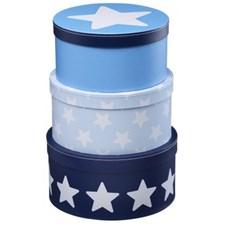 Oppbevaringsbokser 3 pk Star, blå, Kids concept
