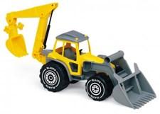 Traktor med frontlastare och grävare, Plasto