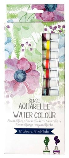 Akvarellivärisetti Sense 12 väriä à 12 ml