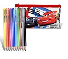 Fyllt transparent pennskrin med färgpennor, Disney Cars