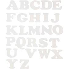 Bokstaver, H: 10 cm, B: 12-14 cm, hvit, 3sett, 230 g