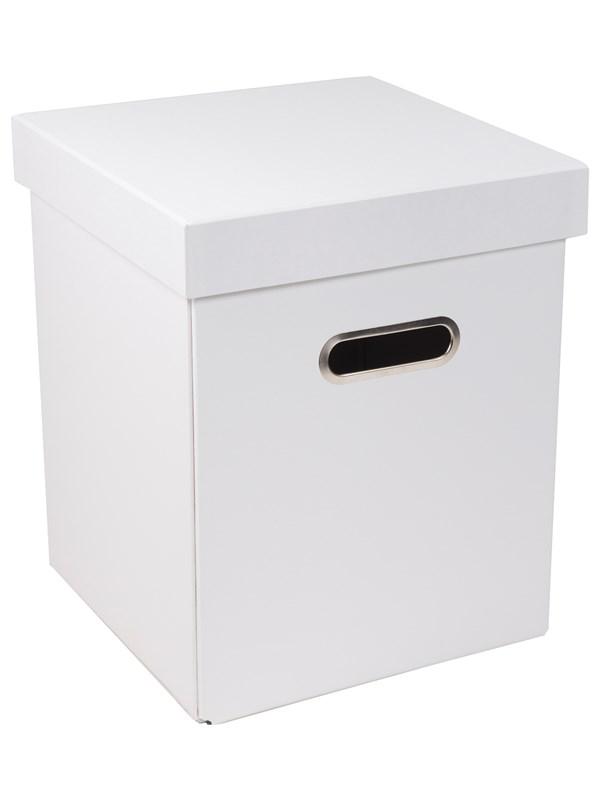 Kasse med oppbevaringsfunksjon. 25x25x29,5cm. Testet for 75 kg. Hvit