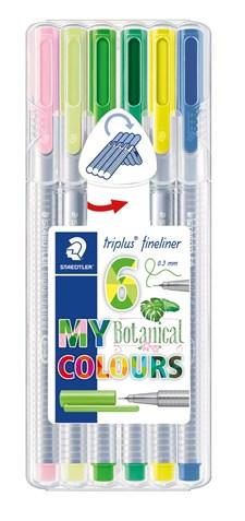Triplus® fineliner 6-pack, i STAEDTLER-box, 0,3 mm fiberspets. Botanical