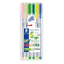 Triplus® fineliner 6-pack, i STAEDTLER-box, 0,3 mm fiberspets. Botanical